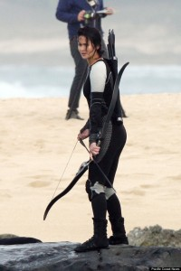 Jennifer Lawrence springs to action on the set of  'The Hunger Games Catching Fire' filming in Hawaii